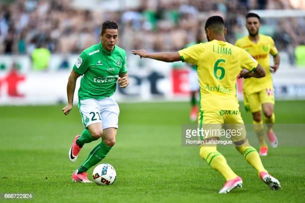 Romain Hamouma of Saint Etienne Lucas Alves De Lima of Nantes during the Ligue 1 match between As Saint Etienne and Fc Nantes at Stade...