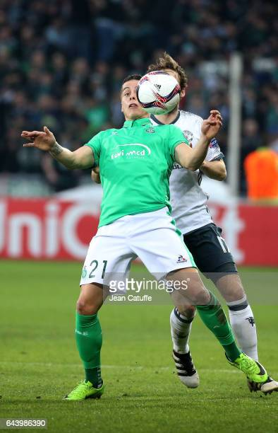 Romain Hamouma of SaintEtienne in action during the UEFA Europa League Round of 32 second leg match between AS SaintEtienne and Manchester United at...