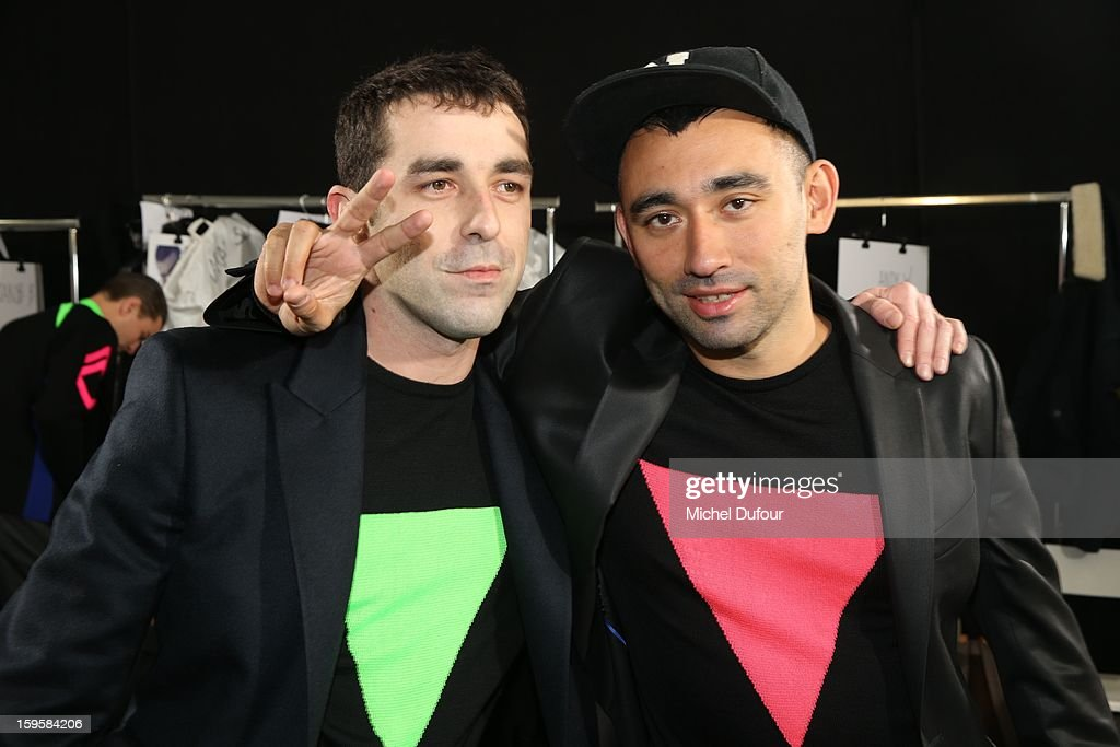 Romain Kremer and Nicolas Formichetti during the Mugler Men Autumn / Winter 2013 show as part of Paris Fashion Week on January 16, 2013 in Paris, France.