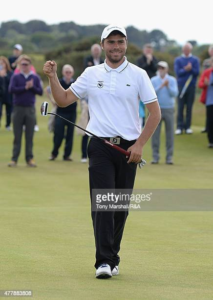 Romain Langasque of France celebrates after winning the final on the 16th hole during the Final of The Amateur Championship 2015 Day Six at...