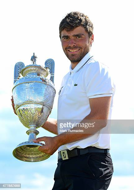 Romain Langasque of France celebrates winning the 120th Amateur Championship during day Six of the Amateur Championship 2015 at Carnoustie Golf Links...