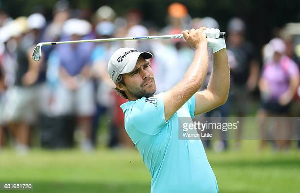 Romain Langasque of France hits his second shot on the 7th hole during day three of the BMW South African Open Championship at Glendower Golf Club on...