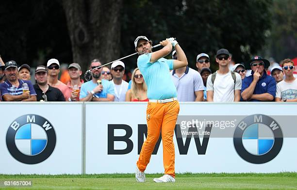 Romain Langasque of France hits his tee shot on the 10th hole during day three of the BMW South African Open Championship at Glendower Golf Club on...
