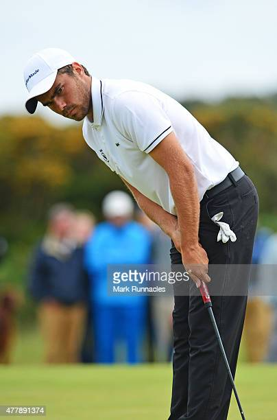 Romain Langasque of France reacts after missing a putt during day Six of the Amateur Championship 2015 at Carnoustie Golf Links on June 20 2015 in...