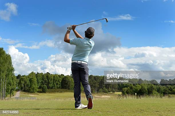 Romain Langasque of France Tee shot at 16 during the second day of the 2016 SSE Scottish Hydro Challenge at the MacDonald Spay Valley Golf Course on...