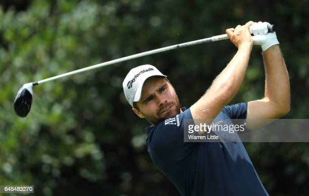 Romain Langasque of France tees off on the 9th during completion of the suspended third and final round of The Joburg Open at Royal Johannesburg and...