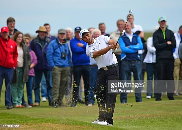 Romain Langasque of France watches his approach shot the 7th green during day Six of the Amateur Championship 2015 at Carnoustie Golf Links on June...