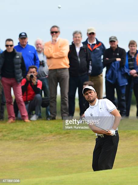 Romain Langasque of France watches his chip shot the 9th green during day Six of the Amateur Championship 2015 at Carnoustie Golf Links on June 20...