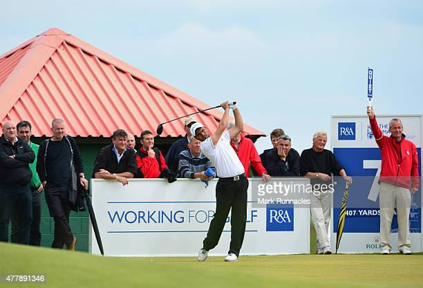 Romain Langasque of France watches on the 7th tee during day Six of the Amateur Championship 2015 at Carnoustie Golf Links on June 20 2015 in...