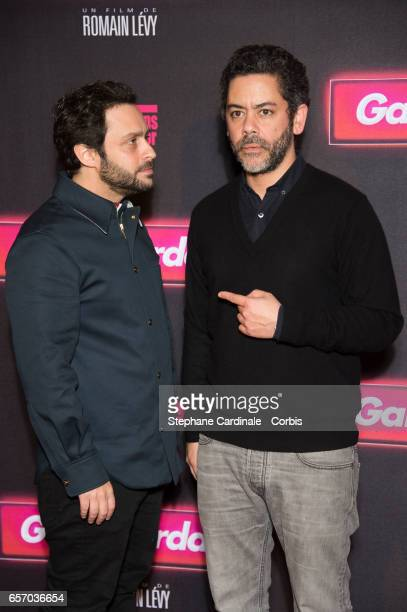 Romain Levy and Manu Payet attend the 'Gangsterdam' Paris Premiere at Le Grand Rex on March 23 2017 in Paris France