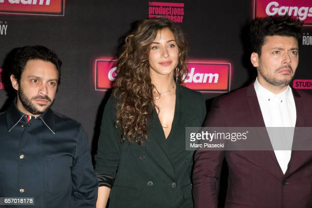 Romain Levy Kev Adams and Manon Azem attend the 'Gangsterdam' Premiere at Le Grand Rex on March 23 2017 in Paris France