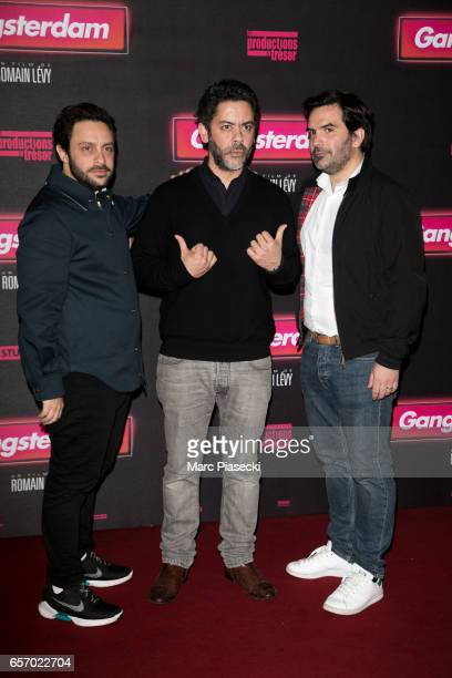 Romain Levy Manu Payet and Mathieu Oullion attend the 'Gangsterdam' Premiere at Le Grand Rex on March 23 2017 in Paris France