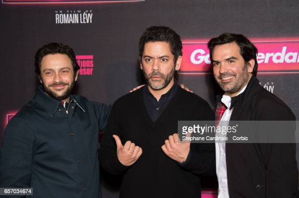 Romain Levy Manu Payet and Mathieu Oullion attend the 'Gangsterdam' Paris Premiere at Le Grand Rex on March 23 2017 in Paris France