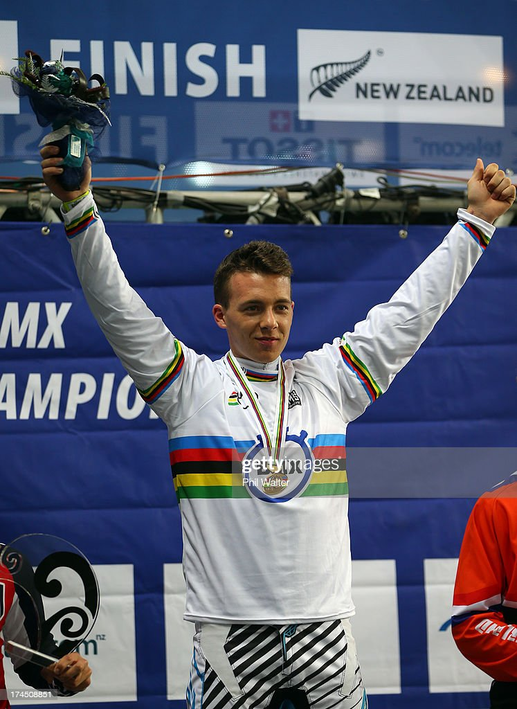 Romain Mahieu of France celebrates winning the Junior Men Time Trial during day four of the UCI BMX World Championships at Vector Arena on July 27, 2013 in Auckland, New Zealand.