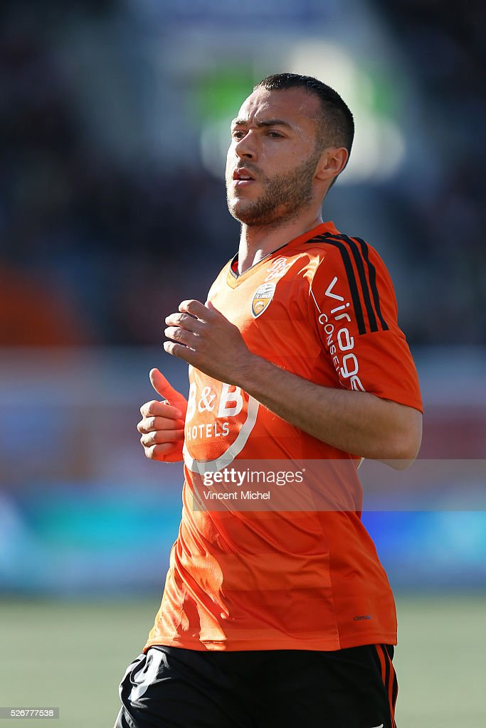 Romain Philipotteaux of Lorient during the French Ligue 1 match between Fc Lorient and Lille OSC at Stade du Moustoir on April 30 2016 in Lorient...