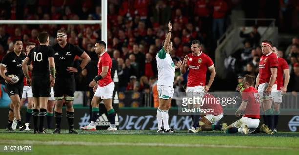 Romain Poite the referee awards a penalty against Ken Owens of the Lions he laterchanged his decision when he orginally had awarded a penalty to the...