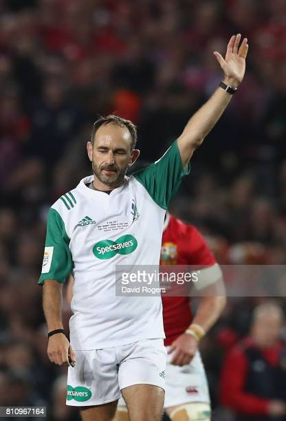 Romain Poite the referee awards a penalty during the Test match between the New Zealand All Blacks and the British Irish Lions at Eden Park on July 8...