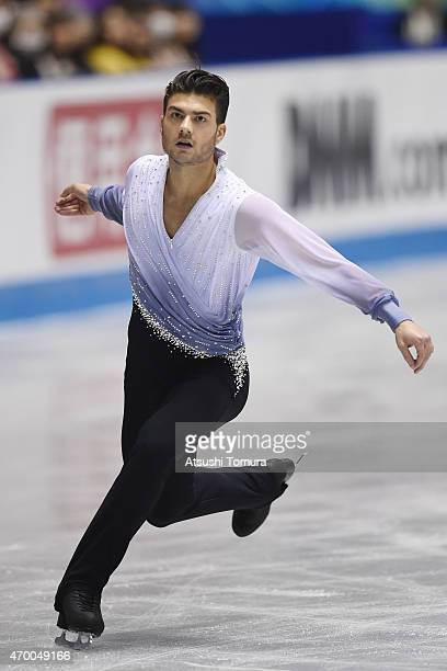 Romain Ponsart of France competes in the men's free skating during the day two of the ISU World Team Trophy at Yoyogi National Gymnasium on April 17...
