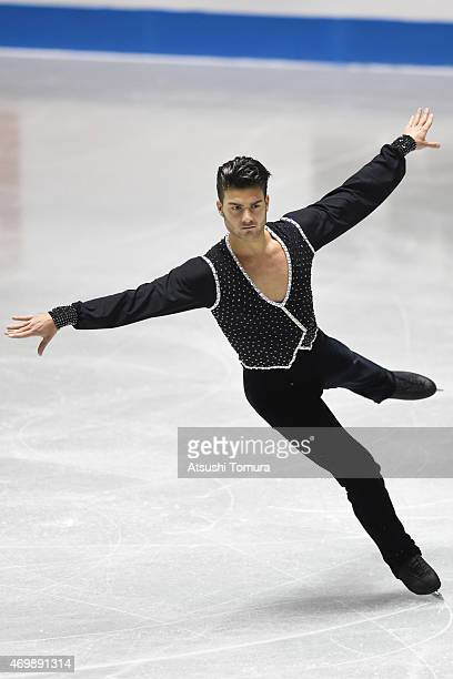 Romain Ponsart of France competes in the men's short program during the day one of the ISU World Team Trophy at Yoyogi National Gymnasium on April 16...