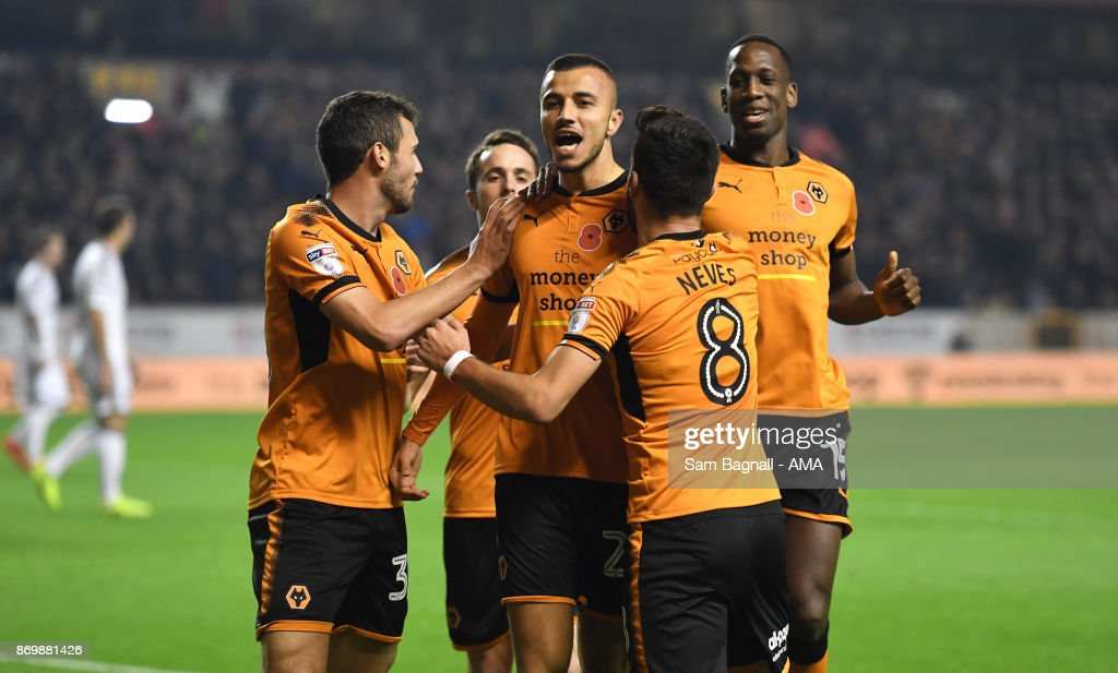 Romain Saiss of Wolverhampton Wanderers celebrates after scoring a goal to make it 1-0 during the Sky Bet Championship match between Wolverhampton and Fulham at Molineux on November 3, 2017 in Wolverhampton, England.