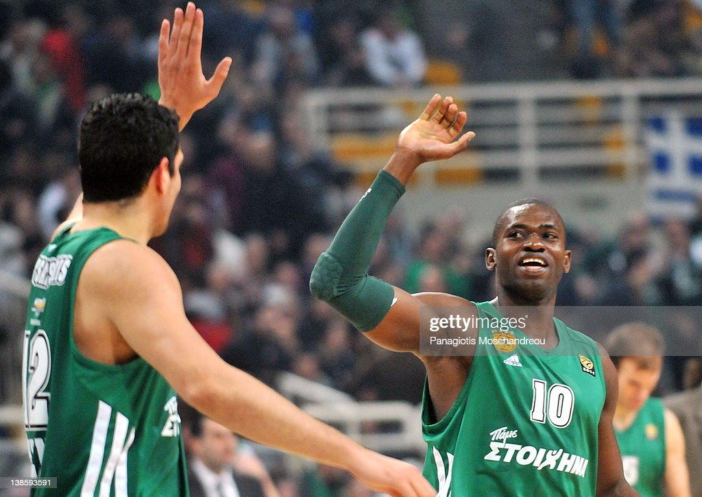 <a gi-track='captionPersonalityLinkClicked' href=/galleries/search?phrase=Romain+Sato&family=editorial&specificpeople=220873 ng-click='$event.stopPropagation()'>Romain Sato</a>, #10 and Kostas Tsartsaris, #12 of Panathinaikos Athens react during 2011-2012 Turkish Airlines Euroleague TOP 16 Game Day 4 between Panathinaikos Athens v Fenerbahce Ulker Istanbul at OAKA on February 9, 2012 in Athens, Greece.