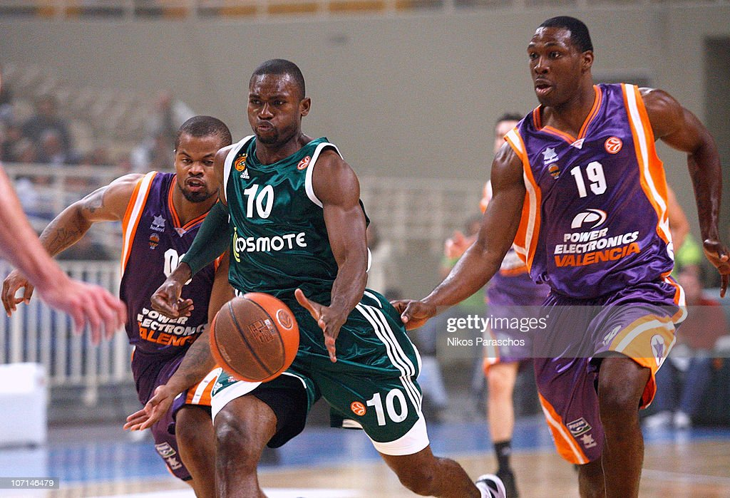 <a gi-track='captionPersonalityLinkClicked' href=/galleries/search?phrase=Romain+Sato&family=editorial&specificpeople=220873 ng-click='$event.stopPropagation()'>Romain Sato</a>, #10 of Panathinaikos Athens in action during the 2010-2011 Turkish Airlines Euroleague Regular Season Date 6 game between Panathinaikos Athens vs Power Electronics Valencia at OAKA on November 25, 2010 in Athens, Greece.