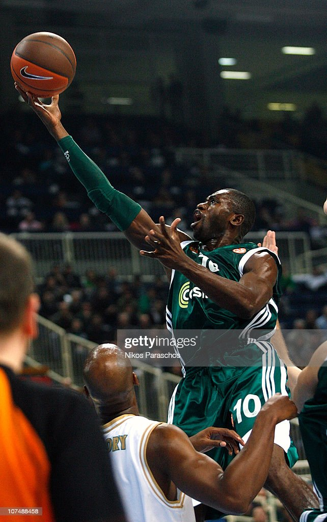 <a gi-track='captionPersonalityLinkClicked' href=/galleries/search?phrase=Romain+Sato&family=editorial&specificpeople=220873 ng-click='$event.stopPropagation()'>Romain Sato</a>, #10 of Panathinaikos Athens in action during the 2010-2011 Turkish Airlines Euroleague Regular Season Date 8 game between Panathinaikos Athens v Union Olimpija Ljubljana at OAKA Arena on December 9, 2010 in Athens, Greece.