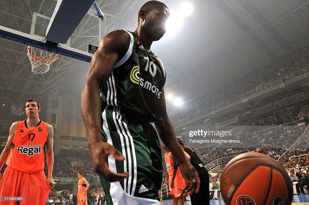 <a gi-track='captionPersonalityLinkClicked' href=/galleries/search?phrase=Romain+Sato&family=editorial&specificpeople=220873 ng-click='$event.stopPropagation()'>Romain Sato</a>, #10 of Panathinaikos Athens react during the Play-Offs Date 4 game between Panathinaikos Athens vs Regal FC Barcelona at OAKA on March 31, 2011 in Athens, Greece.