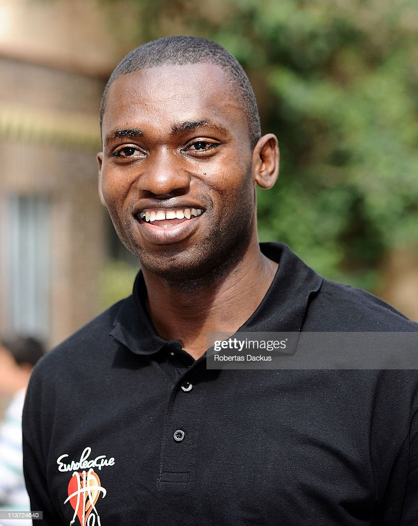 <a gi-track='captionPersonalityLinkClicked' href=/galleries/search?phrase=Romain+Sato&family=editorial&specificpeople=220873 ng-click='$event.stopPropagation()'>Romain Sato</a>, #10 of Panathinaikos Athens smiles during the Turkish Airlines Euroleague Final Four Aurora Court Refurbishment at Aurora Court on May 5, 2011 in Barcelona, Spain.