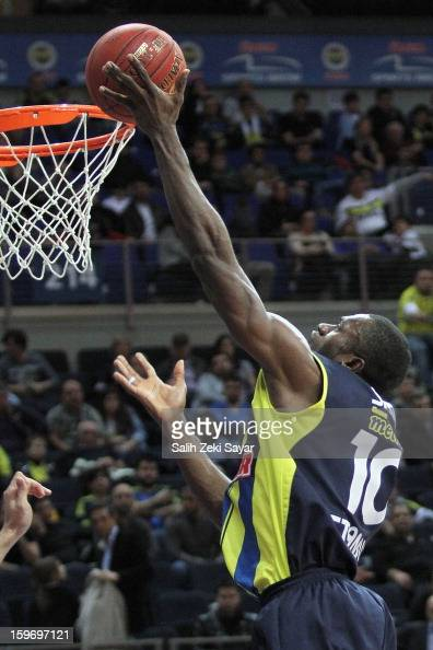 Romain Sato of Fenerbahce Ulker in action during the 20122013 Turkish Airlines Euroleague Top 16 Date 4 between Fenerbahce Ulker Istanbul v Caja...