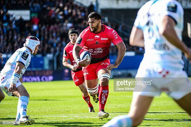 Romain Taofifenua of Toulon during the European Rugby Champions Cup Quarter Final between Racing 92 v RC Toulon at Stade Yves Du Manoir on April 10...