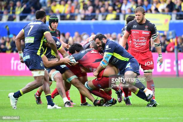 Romain Taofifenua of Toulon is tackled and loses his shorts during the European Champions Cup quarter final match between Clermont and Toulon at...
