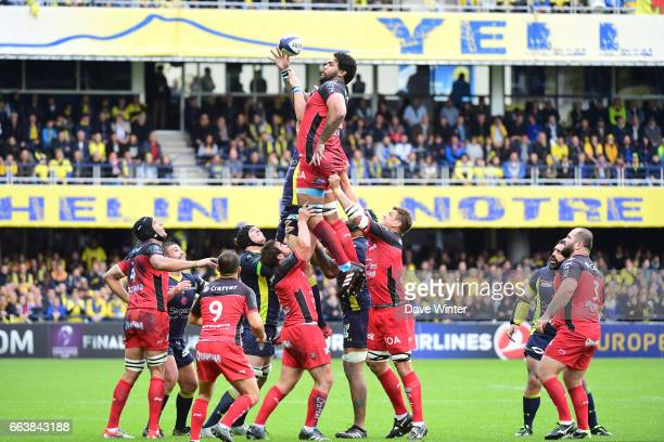 Romain Taofifenua of Toulon wins lineout ball during the European Champions Cup quarter final match between Clermont and Toulon at Stade Marcel...