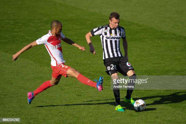 Romain Thomas of Angers and Fabinho of Monaco during the Ligue 1 match between SCO Angers and AS Monaco on April 8 2017 in Angers France