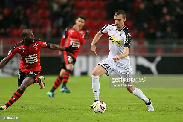 Romain Thomas of Angers during the Ligue 1 match between Stade Rennais and Sco Angers at Stade de la Route de Lorient on November 19 2016 in Rennes...