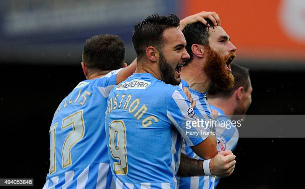 Romain Vincelot of Coventry City celebrates his sides first goal during the Sky Bet League One match between Swindon Town and Coventry City at The...