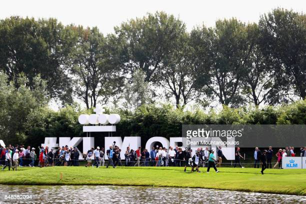 Romain Wattel Joel Stalter and Kiradech Aphibarnrat of Thailand during Day Four of the KLM Open at The Dutch on September 17 2017 in Spijk Netherlands