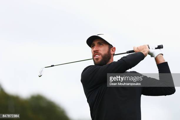 Romain Wattel of France hits his second shot on the 1st hole during day 3 of the European Tour KLM Open held at The Dutch on September 16 2017 in...