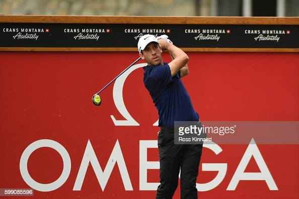 Romain Wattel of France hits his tee shot on the second hole during the final round of the Omega European Masters at CranssurSierre Golf Club on...