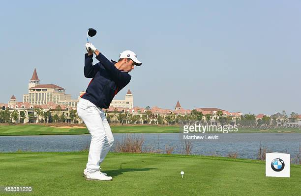 Romain Wattel of France hits his teeshot on the ninth hole during day four of the BMW Masters at Lake Malaren Golf Club on November 2 2014 in...