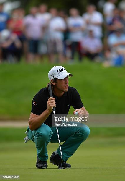 Romain Wattel of France looks for the line of his putt on the 5th green during the third round of the Irish Open at Fota Island resort on June 21...