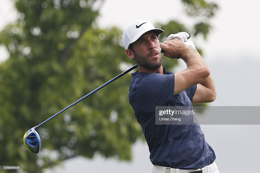 Romain Wattel of France plays a shot during the final round of the Volvo China open at Topwin Golf and Country Club on May 1, 2016 in Beijing, China.
