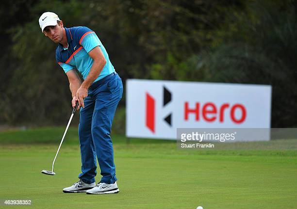 Romain Wattel of France plays a shot during the second round of the Hero India Open Golf at Delhi Golf Club on February 20 2015 in New Delhi India