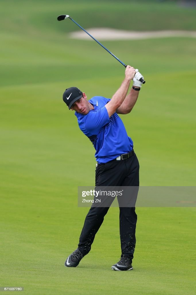 Romain Wattel of France plays a shot during the second round of the Shenzhen International at Genzon Golf Club on April 21, 2017 in Shenzhen, China.
