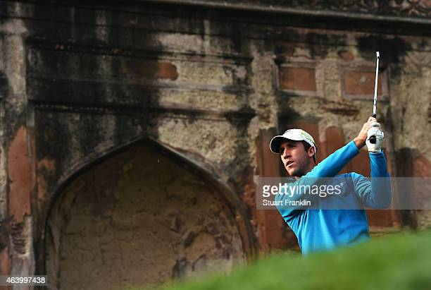 Romain Wattel of France plays a shot during the third round of the Hero India Open Golf at Delhi Golf Club on February 21 2015 in New Delhi India
