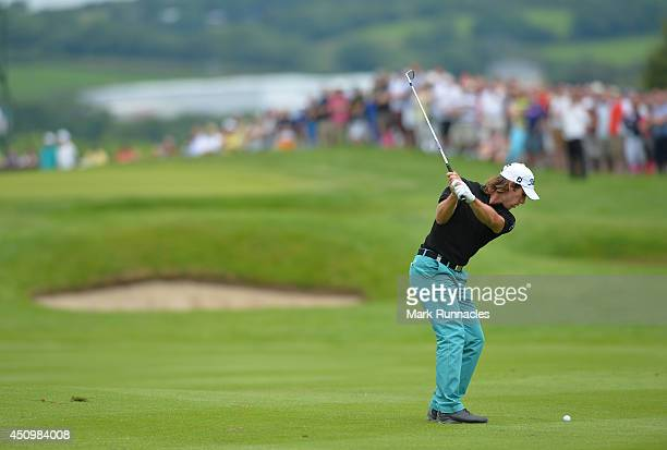 Romain Wattel of France plays his approach shot to the 6th green during the third round of the Irish Open at Fota Island resort on June 21 2014 in...