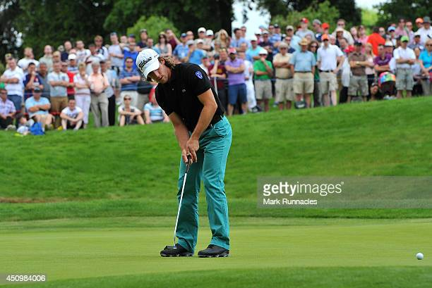 Romain Wattel of France putting on the 5th green during the third round of the Irish Open at Fota Island resort on June 21 2014 in Cork Ireland