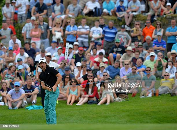 Romain Wattel of France putting on the 7th green during the third round of the Irish Open at Fota Island resort on June 21 2014 in Cork Ireland