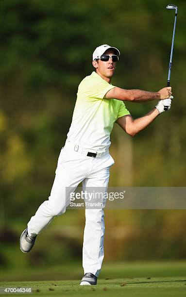 Romain Wattel of France reacts to a shot during the second round of the Shenzhen International at Genzon Golf Club on April 17 2015 in Shenzhen China