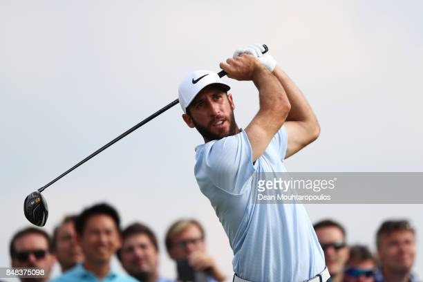 Romain Wattel of France tees off on the 11th hole during Day Four of the KLM Open at The Dutch on September 17 2017 in Spijk Netherlands